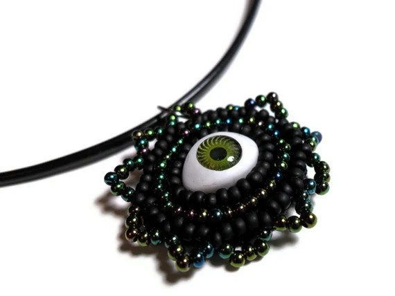 Evil Eye Black and Green Pendant Necklace on a Black Cord with Green and Black Beads - MegansBeadedDesigns