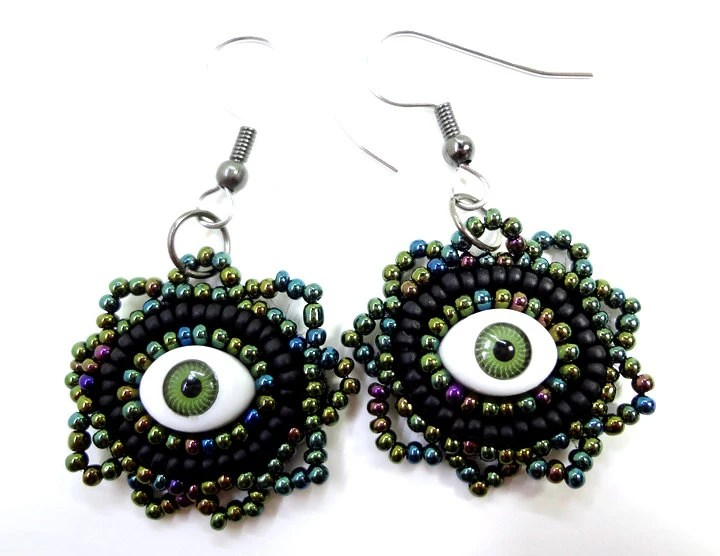Black and Green Evil Eye Earrings - Beaded Jewelry - MegansBeadedDesigns