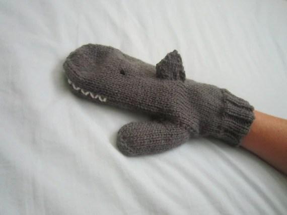 Shark mittens, grey,  pure soft Australian wool, medium female adult size