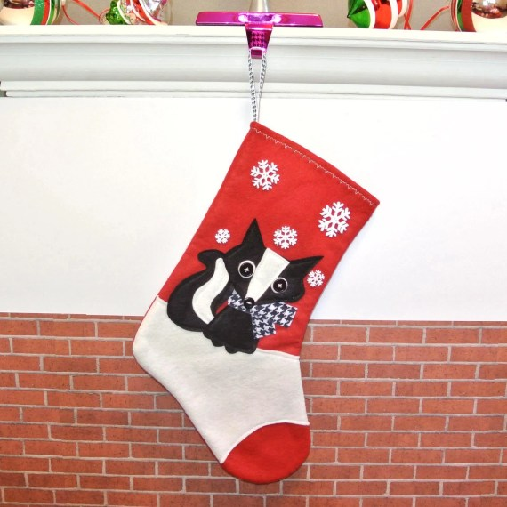 Skunk Christmas Stocking in Red by Allenbrite Studio