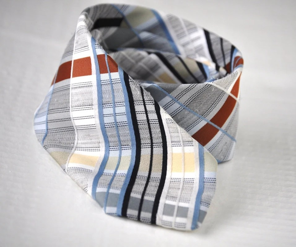 Retro Plaid Tie Mens Vintage Necktie Blues Brown Yellow Necktie Eveteam - ArmorOfModernMen