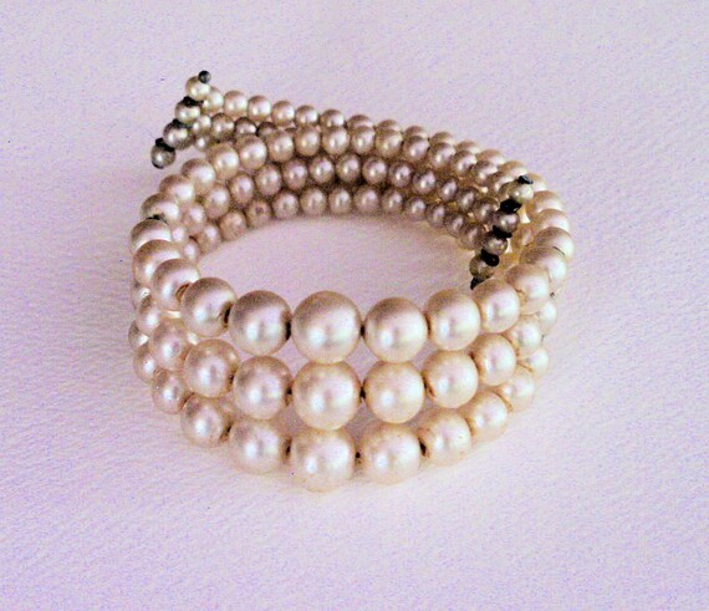 Pearl Bracelet Wire Pearl Cuff 1950s