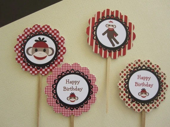 Sock Monkey Cupcake Toppers Appetizer Picks Set Of 12