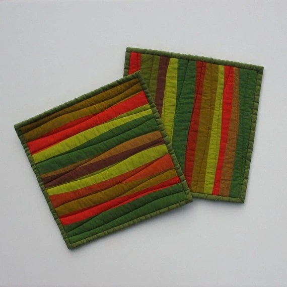 Modern Pot Holders, Green Potholders, Hot Pad, Green