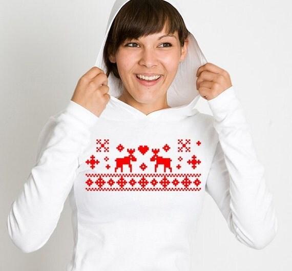 """Christmas Reindeer Hoodie Shirt """"Norwegian X-Mas"""""""
