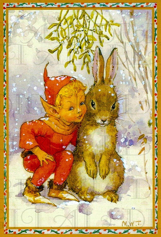 Adorable Little Boy Elf And His Big Bunny Friend Vintage