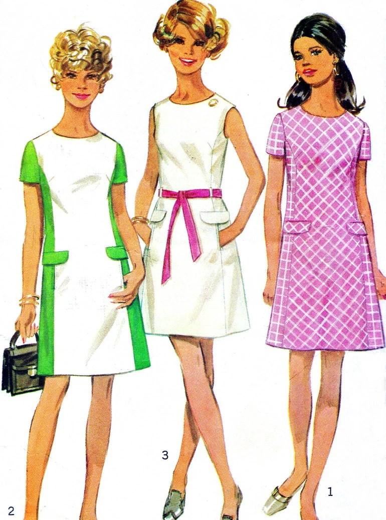 1960s Dress Pattern Simplicity 8083 Mod Princess Seam Color