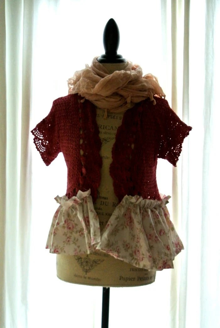 Winter Ruffle Shrug Farmhouse Sweater Womens By