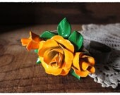 Rose Statement Cuff Bracelet, Orange Floral Collage, Wrist Corsage, Repurposed Vintage, Eco Friendly Jewelry, Gifts for Her Under 50 - beevintageredux