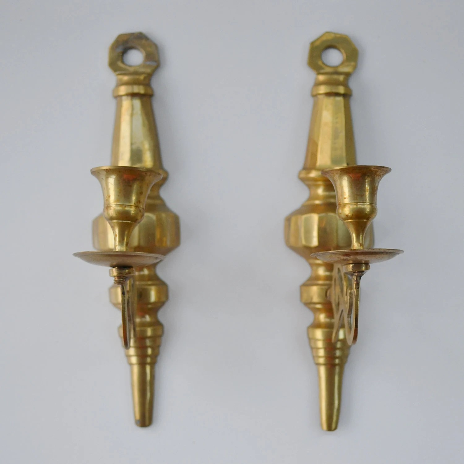 Vintage Pair of Brass Wall Sconces Candle Holders Candelabra on Wall Sconces Candle Holders id=78893