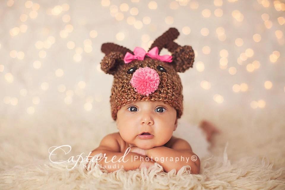 Baby Girl Or Boy Hat Rudolph The Red Nose Reindeer Deer Hat