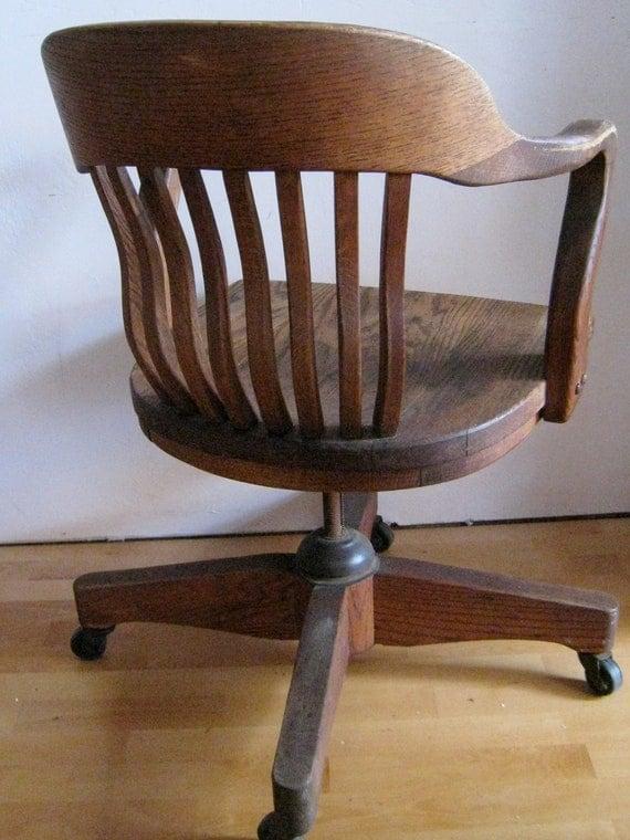 Oak Desk Chair Art Deco Swivel Tilting Rolling Office Chair