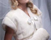 Faux Fur Winter Wedding Bolero Jacket Shrug Style A and regular size muff handwarmer Available in variety of faux furs