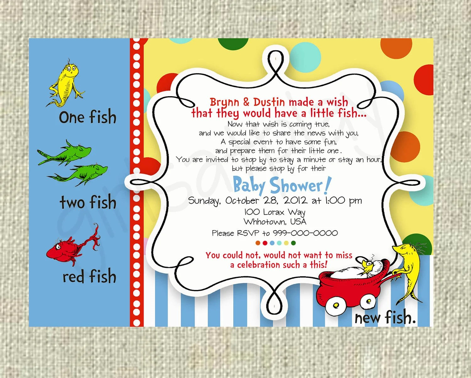 Dr Seuss Baby Shower Invitation One Fish Two Fish Boy Or Girl