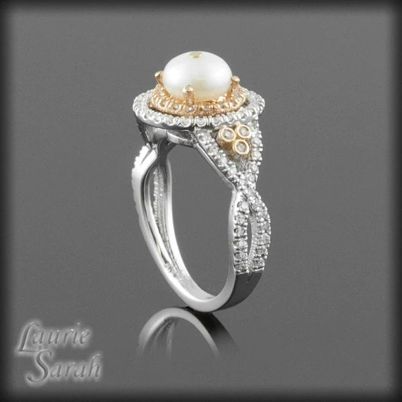 Pearl And Diamond Halo Engagement Ring In By