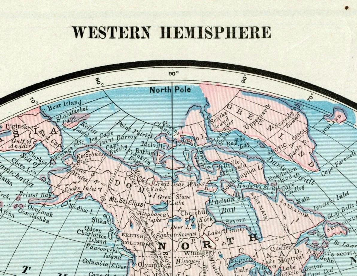 Antique Map Of The World Western Hemisphere