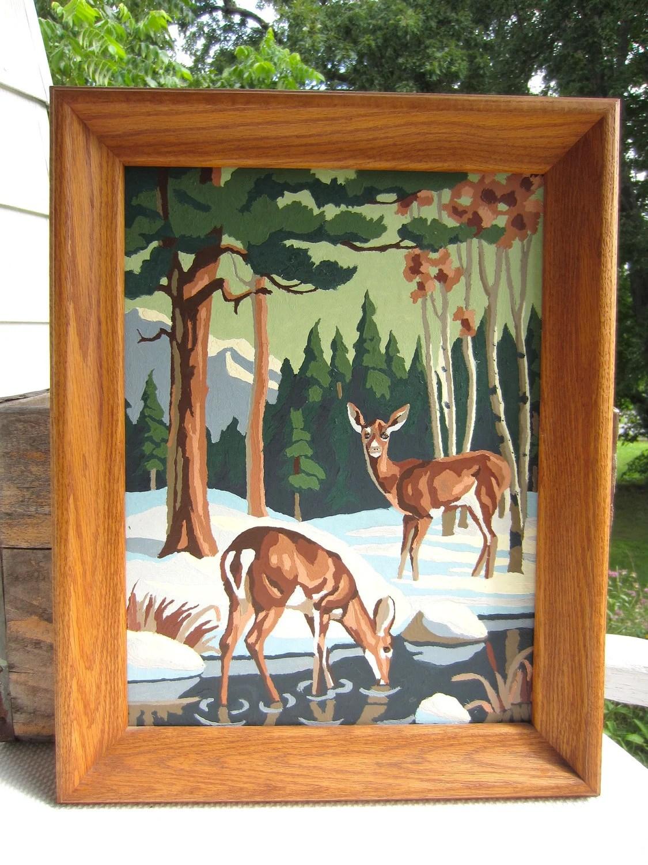 Vintage Paint By Number Deer Winter Scene Framed Picture