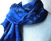 Navy and Bright Cobalt Blues Hand Dyed Crepe Silk Scarf - OceanAvenueSilks