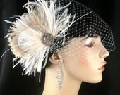 Fascinator, Wedding Hair Fascinator, Bridal Feather Fascinator, Wedding Hair Clip, Wedding Veil, Wedding Fascinator, Feather Fascinator