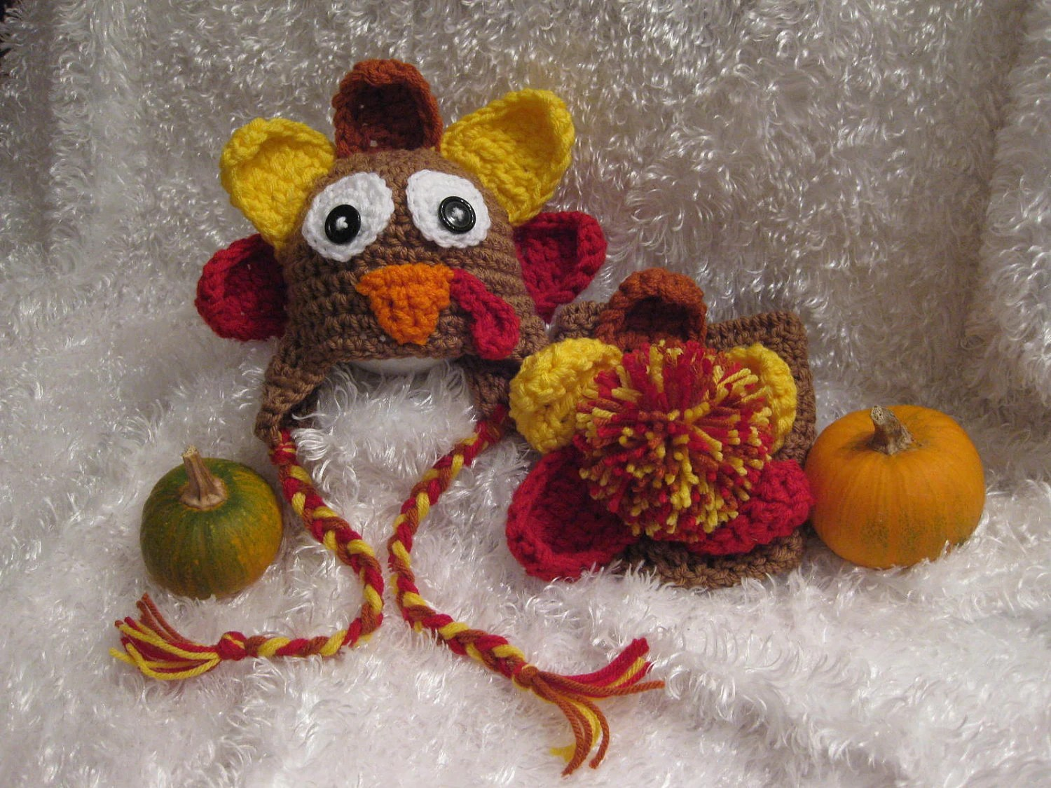 Crochet Thanksgiving Cover Diaper Hat And