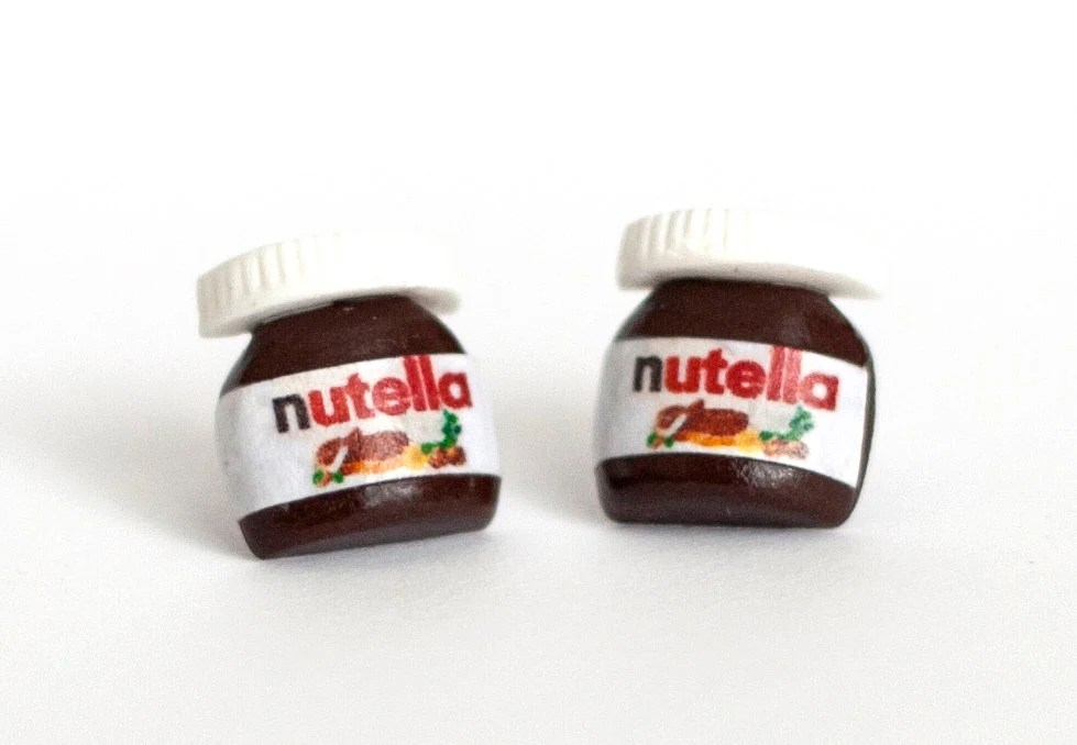 Nutella earrings Polymer Clay minature chocolate-stud earrings - post earring - Zoozim
