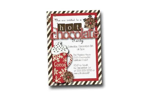 Christmas Party Invitation Hot Chocolate Party Invitation