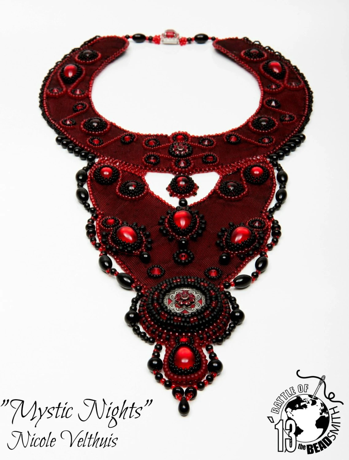 Beadembroidery Necklace Red and Black - EnvySieraden