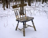 Hand Painted Chair in Black and White and Gold 1 - mfeganart