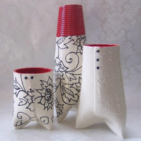 ceramic embossed vase : white & RED kitchen decor