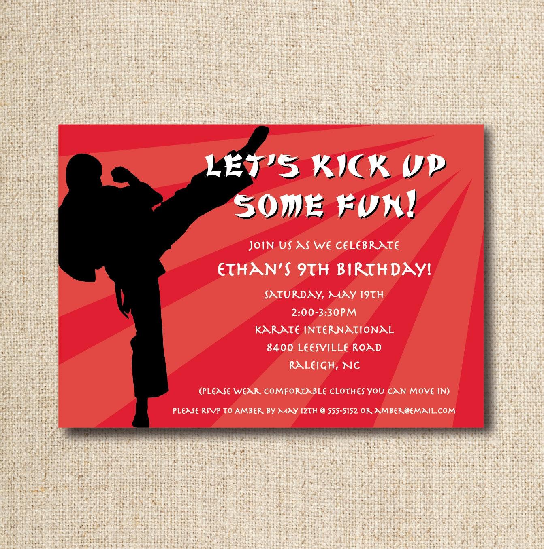 Printable Karate Invitations