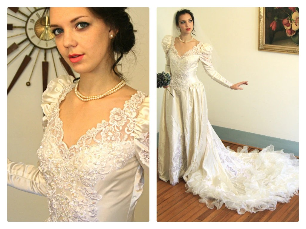 Vintage 1980s Wedding Dress Ruffle Layers Long Puff Sleeve