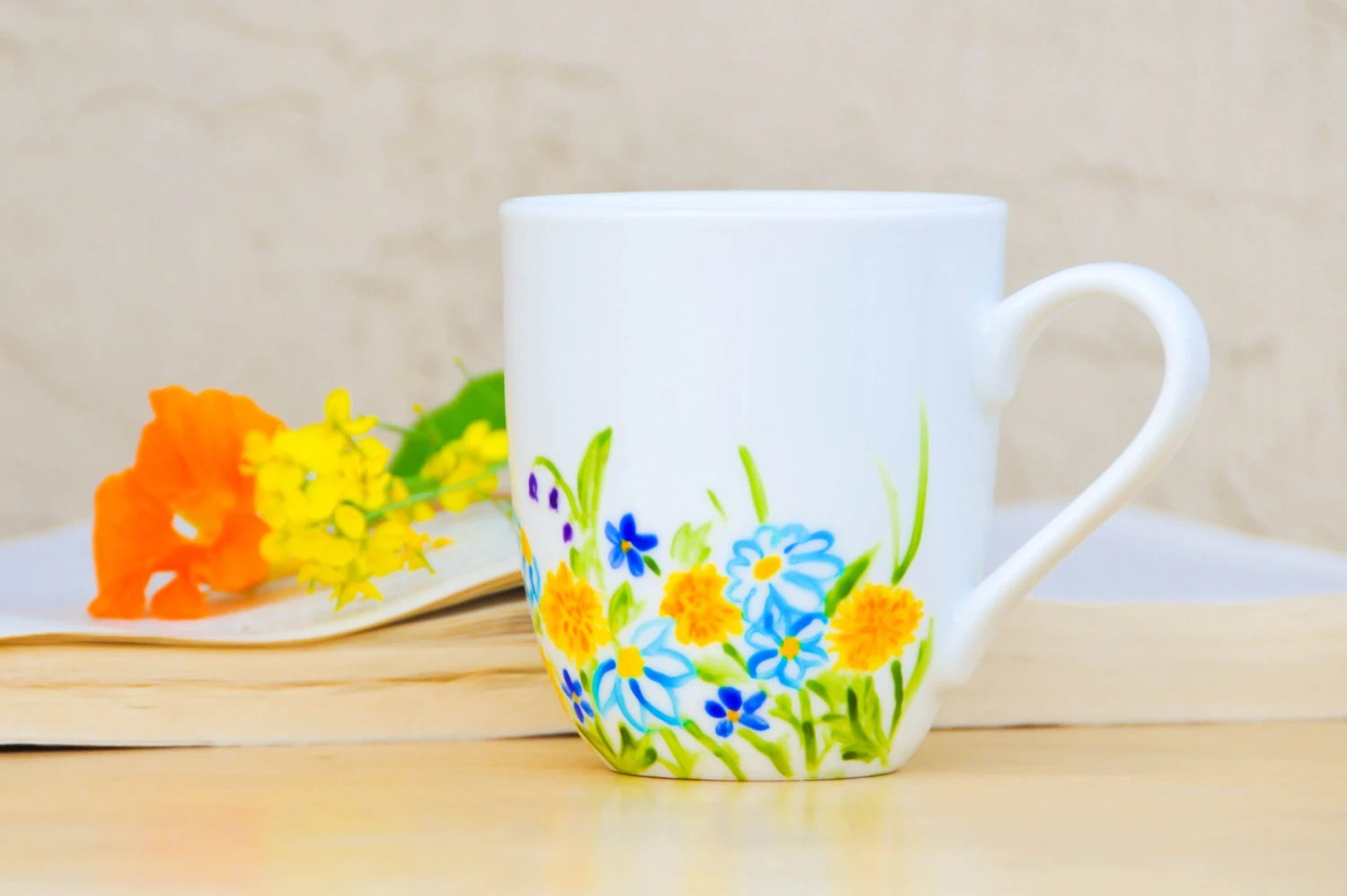 Hand Painted Spring flowers coffee cup - Made to Order - White, Yellow, Blue floral mug - Mother's Day Gift - PictureInADream