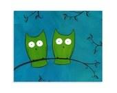 Whimsical Owl Print - Colorful Nursery Art - Blue & Green - heathercashart