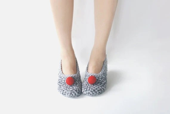 Grey Crochet Slippers with Red Felted Pompoms - WhiteNoiseMaker