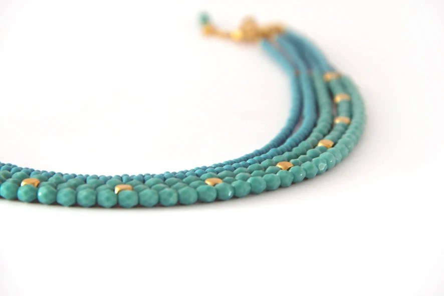 Turquoise chocker necklace, turquoise beaded necklace - SigalDesign