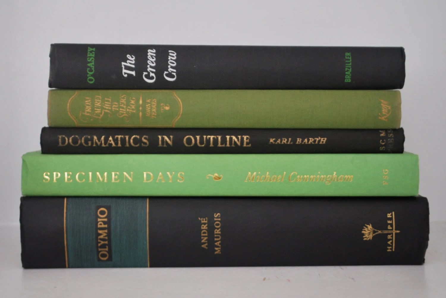 Vintage Book Collection,Hardcover,Black and Green,Home Decor,Interior Design,Decor, Library,Decorative,Book Stack,Old Books - lapetiterevival