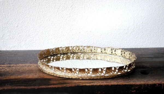 Vintage Brass Mirror Vanity Tray Large Oval Filigree Daisy