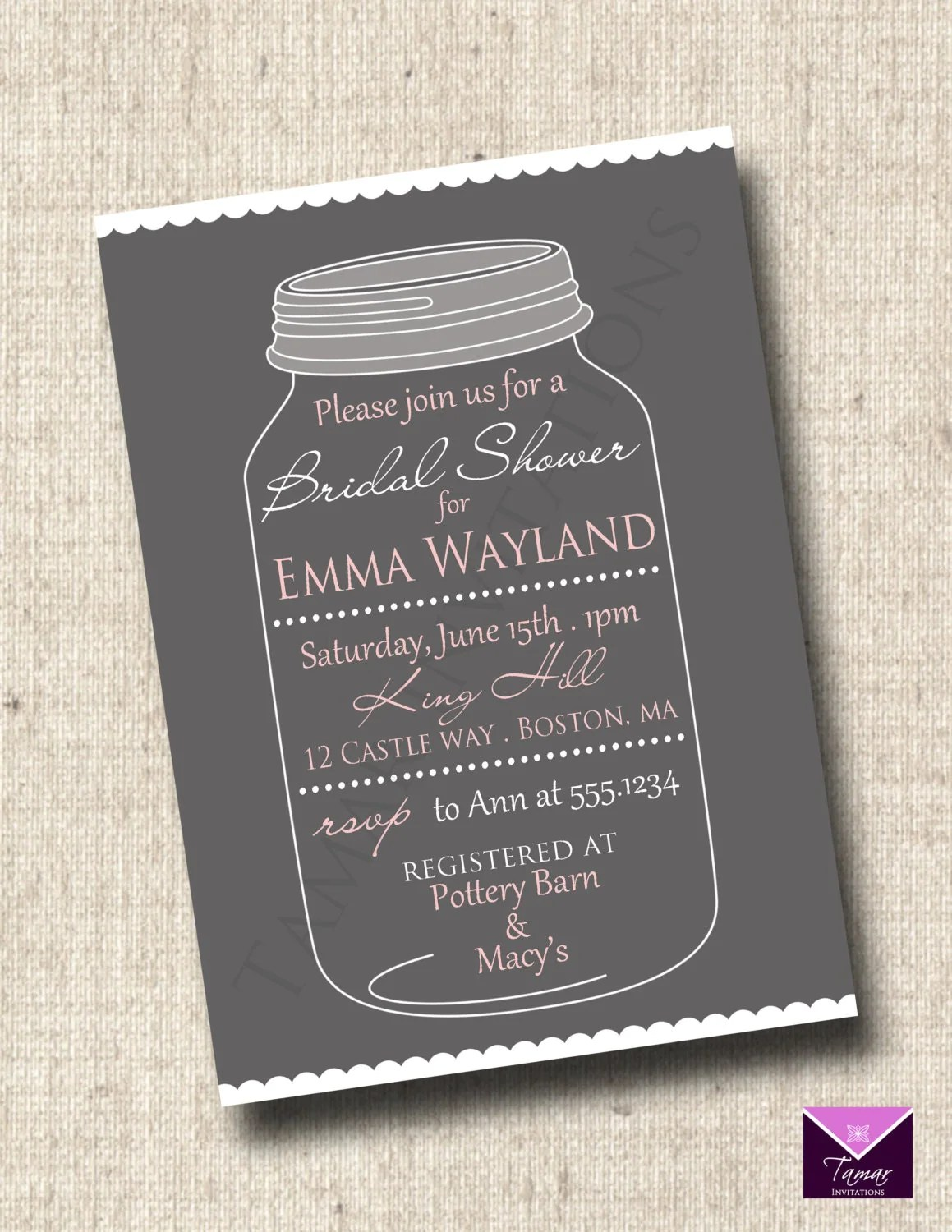 printable bridal or baby shower invitation whimsical mason jar