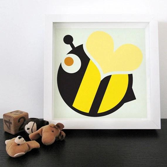 Modern kids art print Love Bee / Yelow Black. Stripes. Heart. Nursery wall art : high quality prints from original izzybizzy illustrations - izzybizzyME