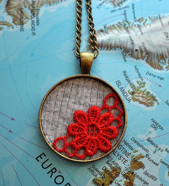 Lace pendant necklace, Red lace jewelry, Victorian jewelry