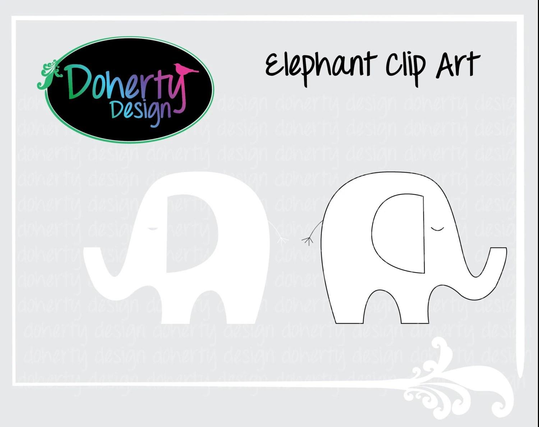 White Silhouette Elephant Clip Art Set