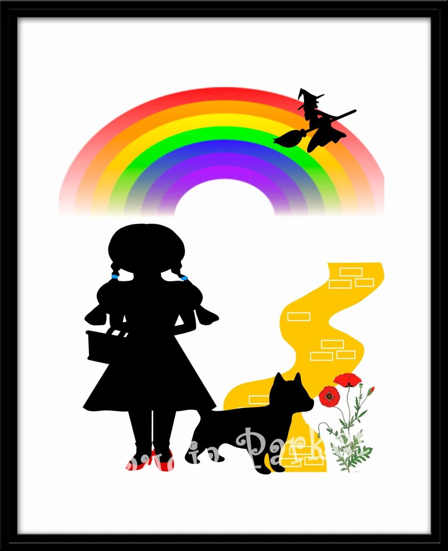 Kids Room Art Print Wizard Of Oz Inspired Dorothy Rainbow