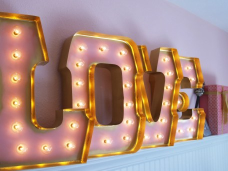 SWEET LOVE with GOLD edging and clear globe lights: alphabet light sign