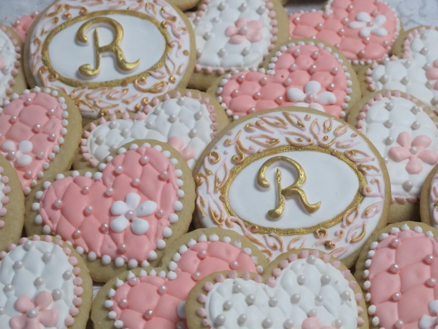 Wedding Hearts And Initials Decorated Sugar Cookies By