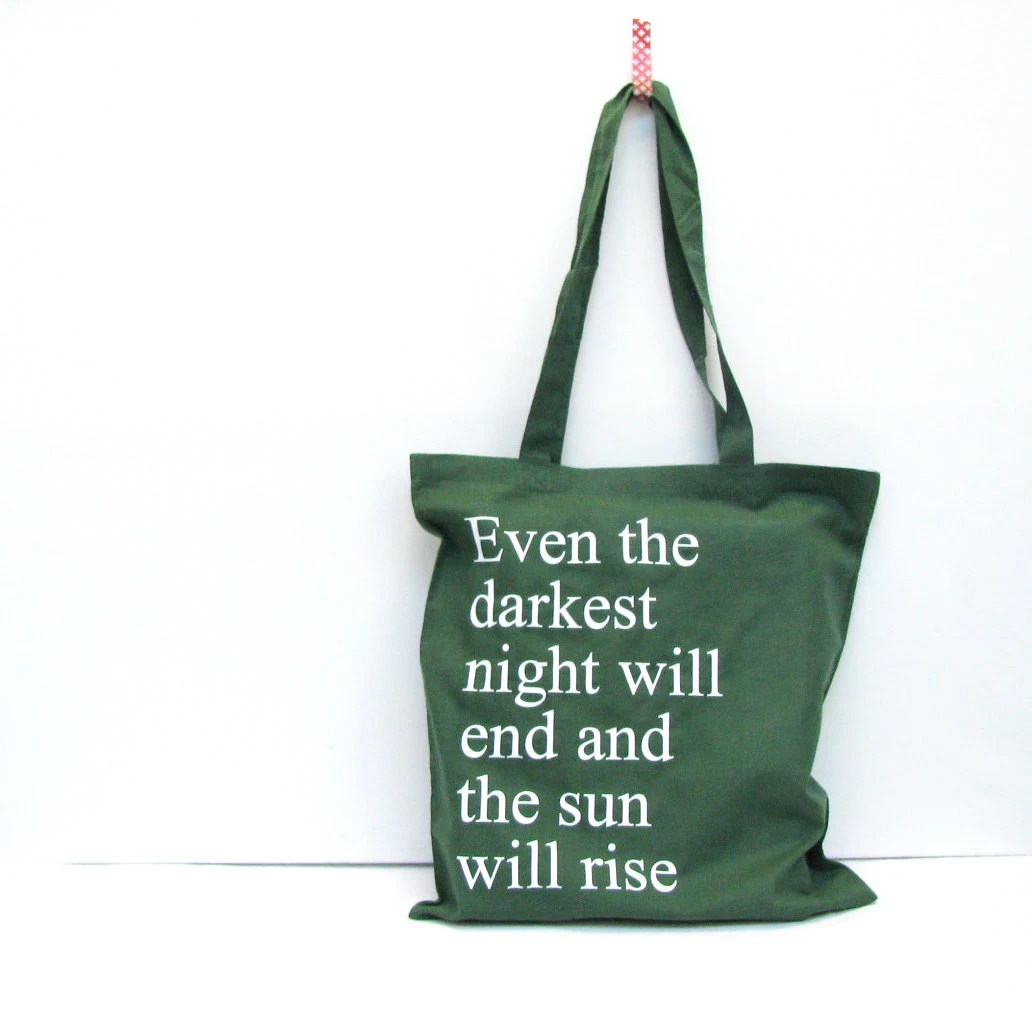Les Miserables bag - Even the darkest night will end and the sun will rise - Victor Hugo - reusable green grocery bag - white letter print - constarlation