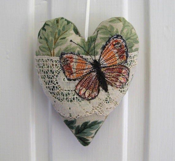 butterfly lavender heart cottage chic