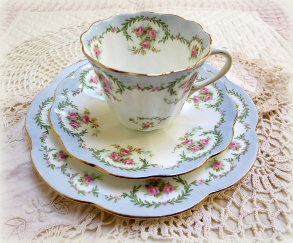 RESERVED Antique English Teacup Trio Delicate Bone China