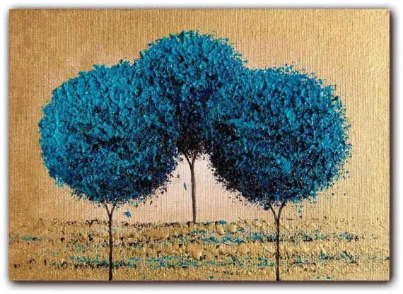 Original Abstract Painting Abstract Landscape Blue Tree