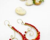 Red Coral Earrings Brass Wire - AmaritaProject