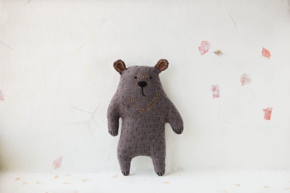 Strange Woodland Soft Creature - Weird Gray Stuffed Bear Plushie - Embroidered Animal toy for Kids